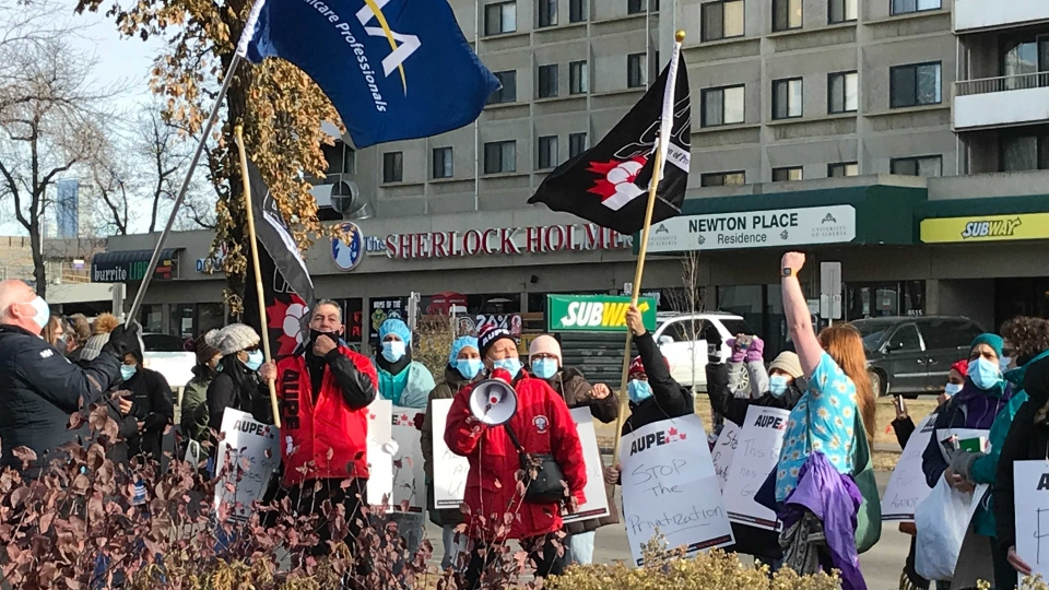 AUPE members at the University of Alberta Hospital were among the workers across the province who walked off the job Monday morning. (Sean McClune / CTV News Edmonton)