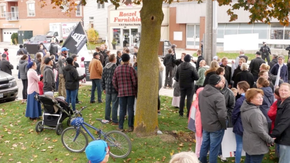 A 'Freedom Rally' was held in Aylmer, Ont. on Saturday, Oct. 24, 2020. (Source: Kimberly Neudorf / Facebook)