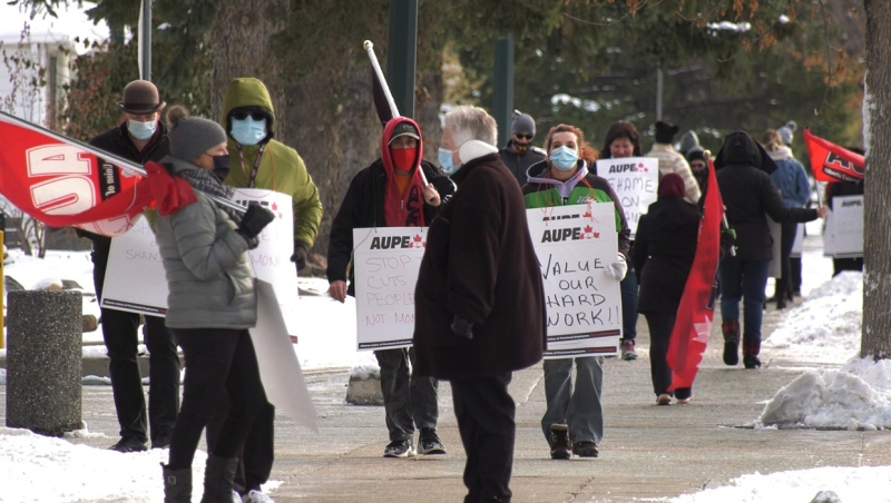 In Lethbridge, around 100 healthcare workers joined in a province-wide wildcat strike Monday against the goverment's plan to eliminate up to 11,000 jobs during a pandemic