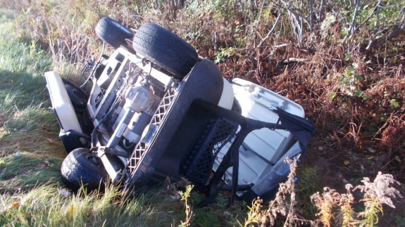 Police allege thieves stole 12 golf carts and left them trashed around the golf course property and in three neighbouring areas. (RCMP HO - THE CANADIAN PRESS)