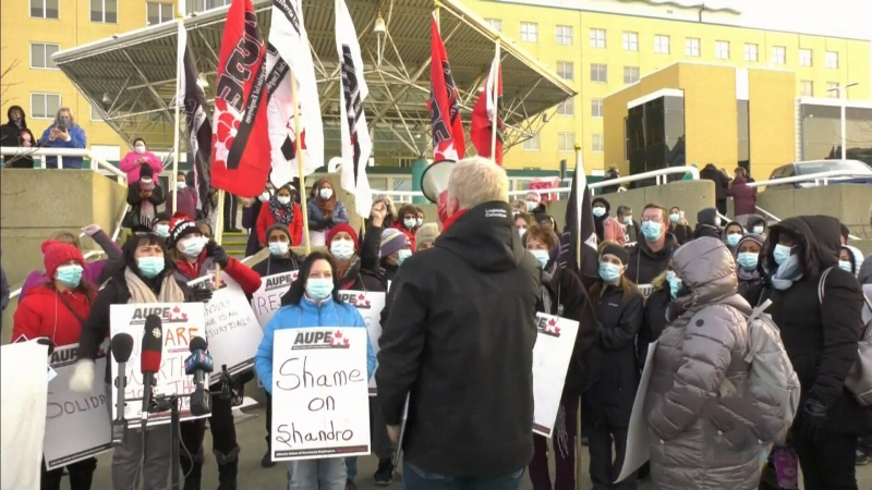 Alberta hospital workers protest job cuts
