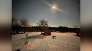 By the light of the moon. Taken this evening at my home along the Nelson River in Norway House. Photo by Jarrica Moore.