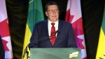 Saskatchewan Party Leader Scott Moe speaks after his party won a majority in the province's election, Monday, Oct. 26, 2020.