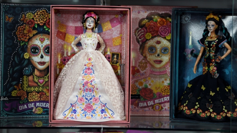 "This year ""Catrina"" Barbie wears a blush-coloured lace dress, unlike last year when she was dressed in black. (AFP)"