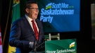 Saskatchewan Party Leader Scott Moe makes his victory speech to media at the party's campaign event in Saskatoon, Sask., on Oct. 26, 2020. (Liam Richards / THE CANADIAN PRESS)