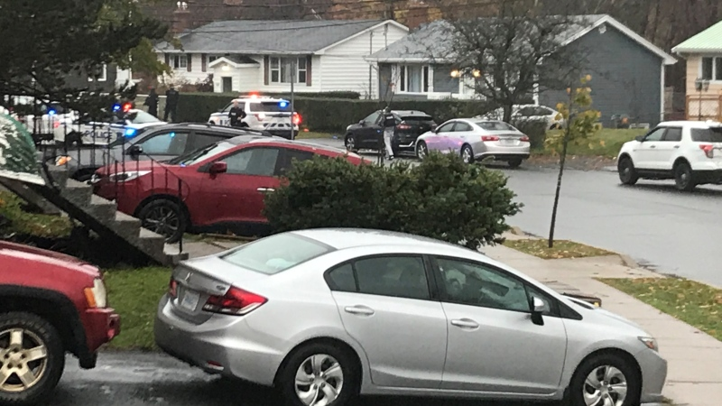 Halifax Regional Police respond to a weapons call in Dartmouth on Oct. 27, 2020.