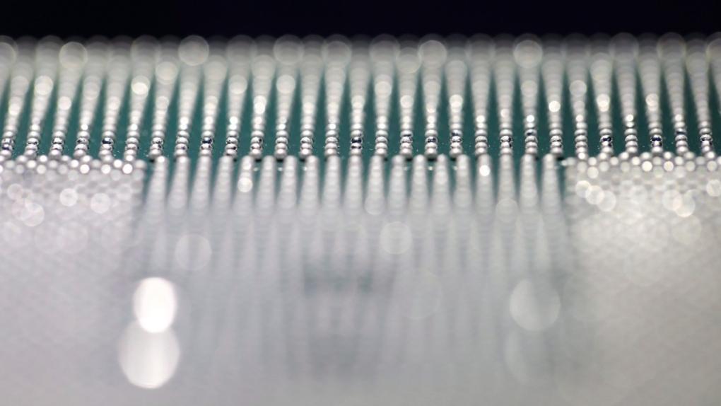 A closeup of a computer chip