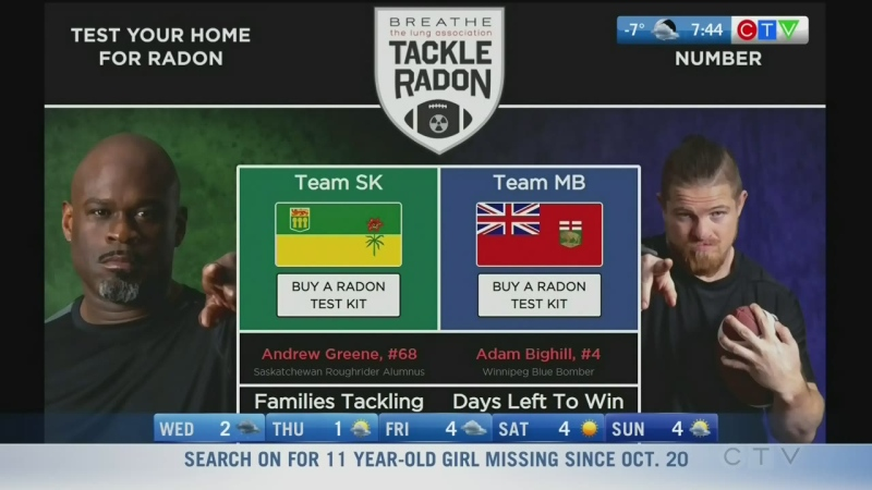 Blue Bomber involved in Tackle Radon initiative