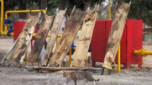 Blood-stained stretchers are dried in the yard of a military hospital near the frontline in the separatist region of Nagorno-Karabakh, on Oct. 26, 2020. (AP)