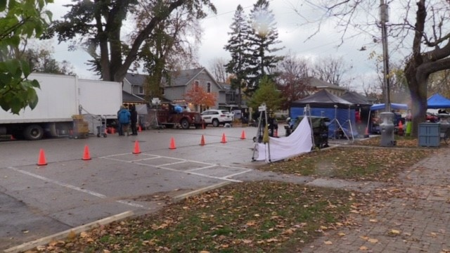 The movie 'Trigger Point' films in Bayfield, Ont. on Monday, Oct. 26, 2020. (Scott Miller / CTV News)