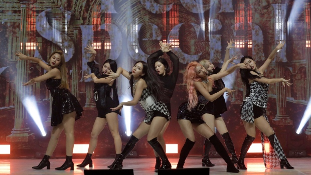 """K-pop group TWICE perform during a showcase for the 8th mini album """"Feel Special"""" in Seoul, South Korea, Monday, Sept. 23, 2019. (AP Photo/Lee Jin-man)"""
