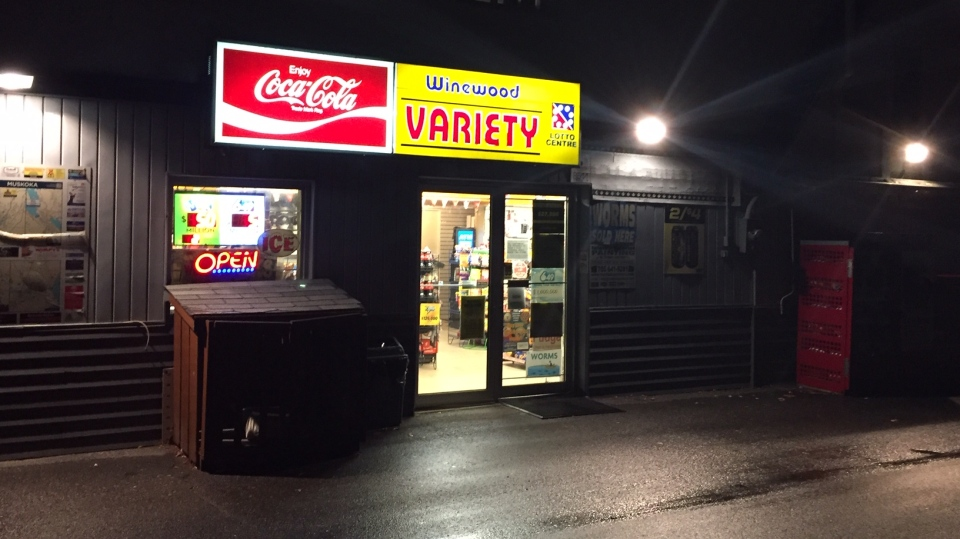 Bracebridge OPP say this convenience store on Muskoka Road near Winewood Avenue and Bethune Drive in Gravenhurst was robbed on Mon., Oct. 26, 2020. (Steve Mansbridge/CTV News)