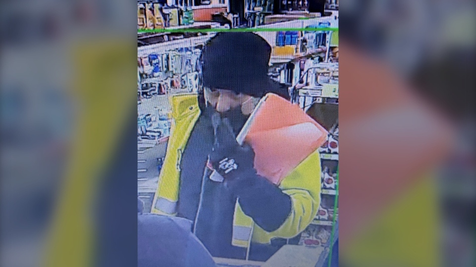 Image of a suspect wanted in connection with an armed robbery in Gravenhurst on Mon., Oct. 26, 2020.