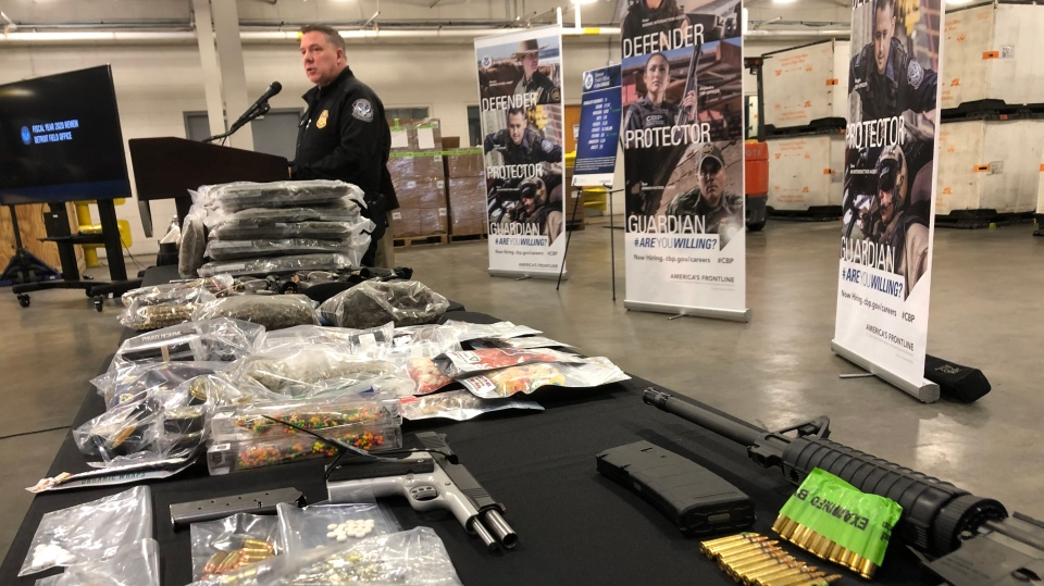 Some of the seized items are shown at a news conference held in Detroit on Tuesday, Oct. 27, 2020. (Courtesy U.S Customs and Border Protection).