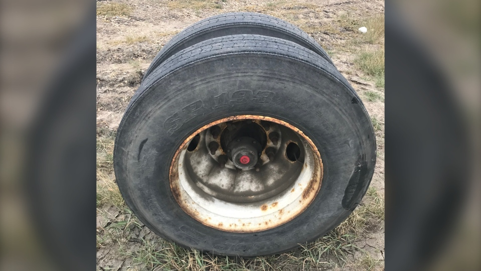 This dual tire, size 11R 22.5, hit a truck on Anthony Henday Drive on Oct. 27, 2020. (Photo: EPS)