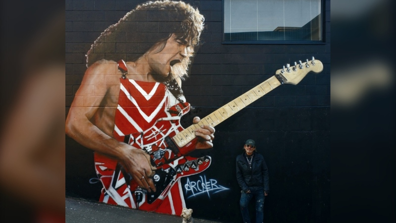 Victoria artist Paul Archer has painted a memorial mural for Eddie Van Halen, who died of cancer in early October.