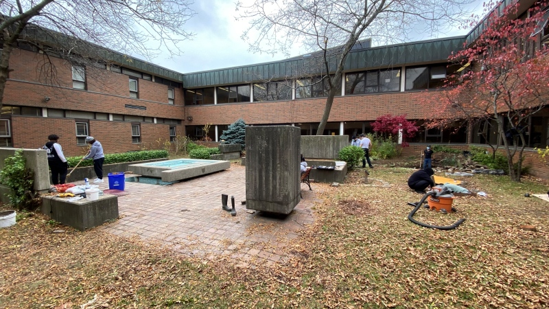 Students at Etobicoke's Silverthorn Collegiate Institute work on an outdoor fountain in their school's courtyard. (Scott Lightfoot/CTV News Toronto)