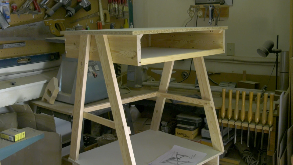 A nearly-finished desk in Roland Besner's shop. (Nate Vandermeer / CTV News Ottawa)