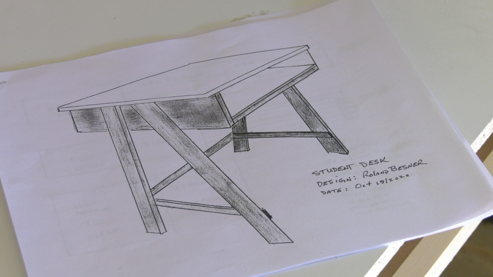 A sketch of the small desk, drawn by Roland Besner. (Nate Vandermeer / CTV News Ottawa)