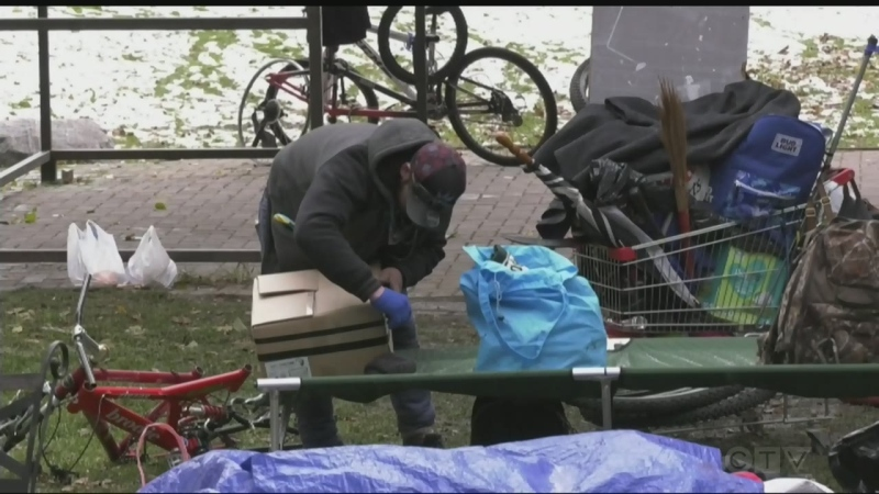 City by-law officers in Sudbury were busy Tuesday rounding up the homeless people at memorial park downtown.