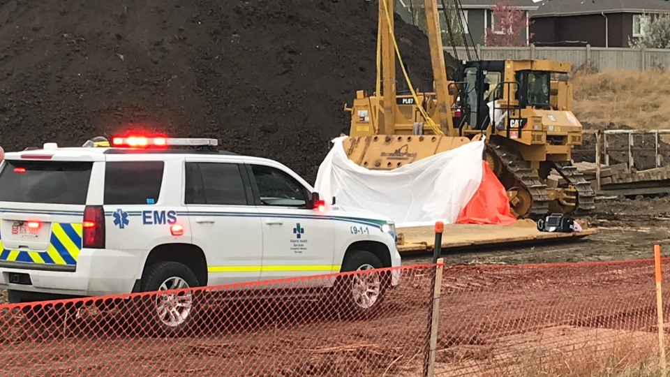 A worker is dead after being hit by a piece of equipment at a site in west Edmonton on Tuesday, Oct.  27, 2020. (Matt Marshall/CTV News Edmonton)