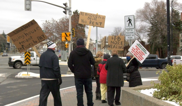 A group of landlords in Greater Sudbury protested Tuesday, calling on the province to deal with the backlog at the Landlord and Tenant Board. (Ian Campbell/CTV News)