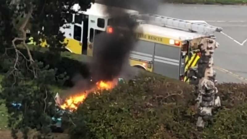 Firefighters were called to Beacon Hill Park after a fire broke out inside of a tent at the regional park Tuesday: (Submitted)