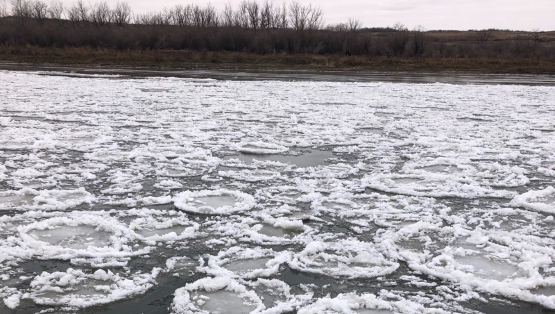 Pancake ice seen near Langham. (Courtesy: Cyndi Jeffery)