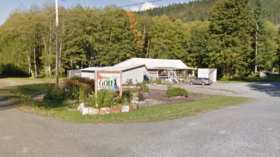 The former Rainbow's End Golf Club clubhouse in Sayward, which was converted into a home before a recent fire destroyed the building, is seen in this Google Maps photo.