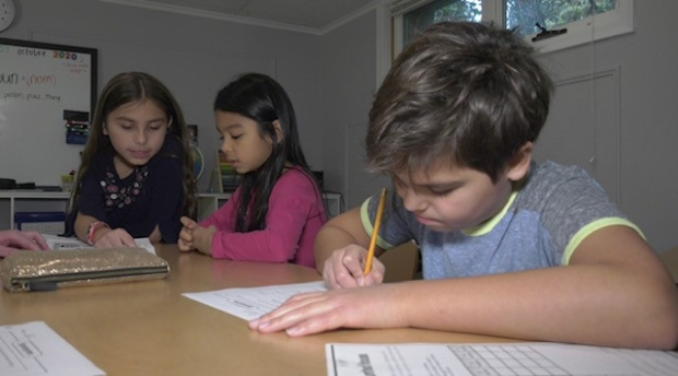 Students do their homework in The Etobicoke Learning Lab. (Beth Macdonell/CTV News Toronto)
