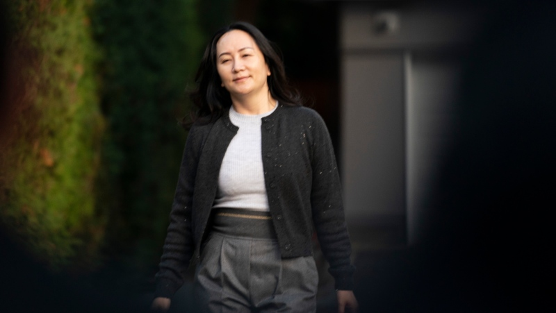 Chief Financial Officer of Huawei, Meng Wanzhou leaves her home in Vancouver, Monday, October 26, 2020. THE CANADIAN PRESS/Jonathan Hayward