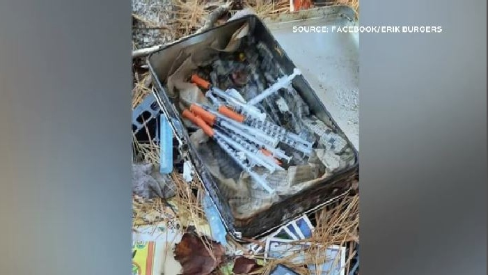 A homeless encampment in Long Lake Provincial Park had several needles left out in the open.