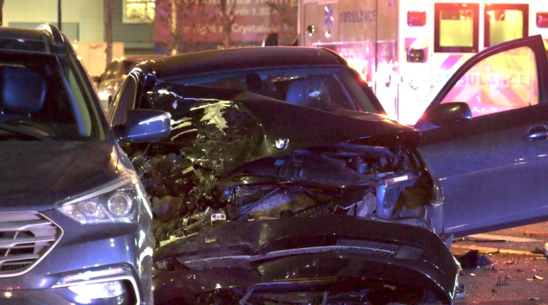 Two cars were involved in a collision, one has a bullet hole in the windshield. Tuesday Oct. 27, 2020 (Sean Amato/CTV News Edmonton)