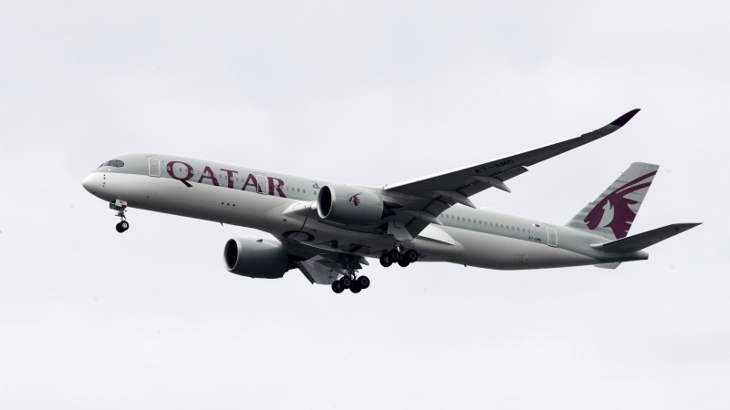 In this Nov. 7, 2019, file photo, a Qatar Airways jet approaches Philadelphia International Airport in Philadelphia. (AP Photo/Matt Rourke, File)