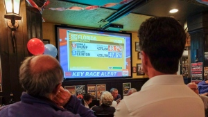 Hillary Clinton supporters attend a Democrats Abroad gathering to watch polling results at a pub in Calgary, Alta., Tuesday, Nov. 8, 2016. (THE CANADIAN PRESS/Jeff McIntosh)