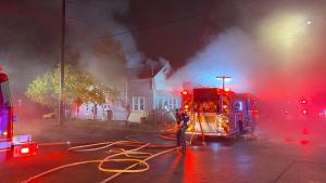 Fire crews battle a blaze at 200 Maitland Street on Tuesday, Oct. 27, 2020. (London Fire Department)