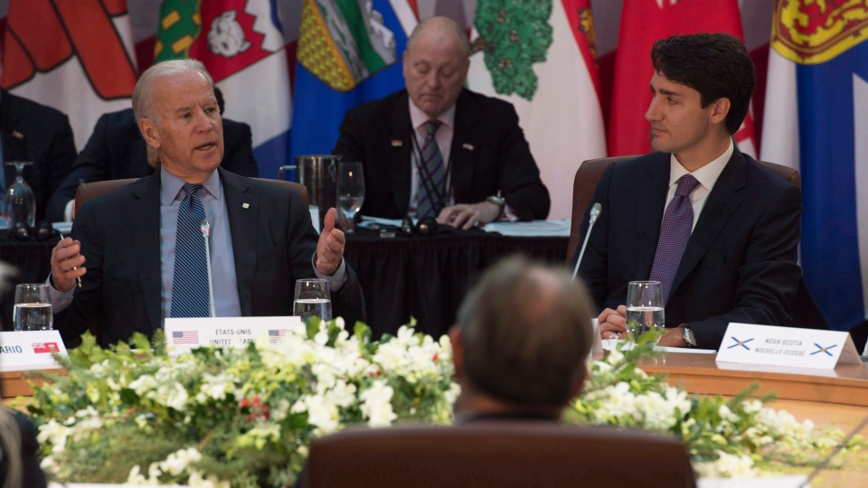 Canadian Prime Minister Justin Trudeau, provincial and territorial premiers and First Nations leaders listen to United States Vice-President Joe Biden deliver remarks at the start of the First Ministers' and National Indigenous Leaders' Meeting in Ottawa, on Friday, December 9, 2016. THE CANADIAN PRESS/Adrian Wyld