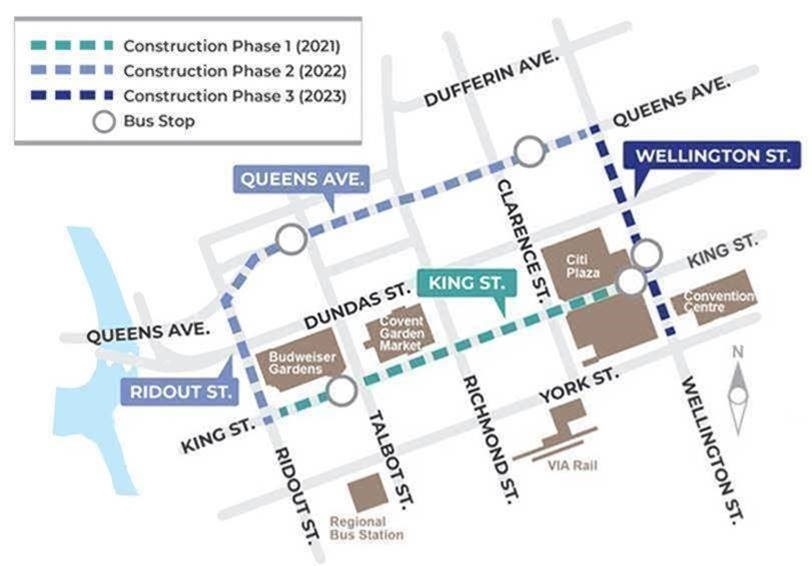 The BRT Downtown Loop will begin construction in 2021. (City of London)