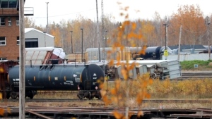 Emergency crews responded to the scene of a train derailment in the CN rail yard near Salisbury Road in Moncton on at 4:30 p.m. on Tuesday. (PHOTO COURTESY: WADE PERRY)