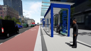 BRT Concept images for bus shelters and lanes in the downtown loop. (Source: City of London)