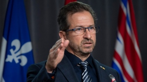 Bloc Quebecois Leader Yves-Francois Blanchet speaks in Ottawa, on October 28, 2020. (Adrian Wyld / THE CANADIAN PRESS)