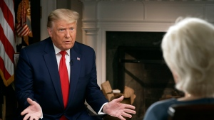 In this image provided by CBSNews/60 MINUTES, U.S. President Donald Trump speaks during an interview conducted by Lesley Stahl in the White House, Tuesday, Oct. 20, 2020. (CBSNews/60 MINUTES via AP)