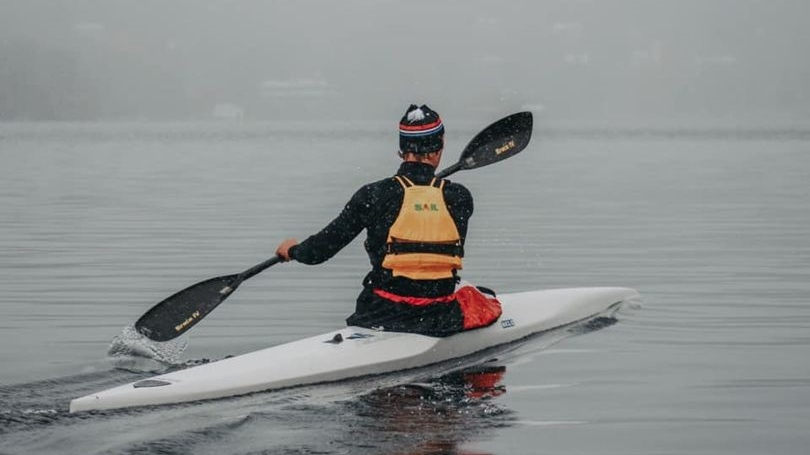 Micheline Dubois' grandson didn't let the snow stop him from training on Lac Beauport Wednesday. SOURCE: Micheline Dubois
