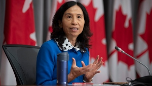 Chief Public Health Officer Theresa Tam responds to a reporter's question during a news conference Tuesday, September 15, 2020 in Ottawa. THE CANADIAN PRESS/Adrian Wyld
