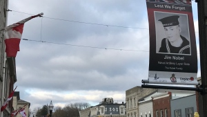 A line of veteran tribute banners are seen on Queen Street East in St. Marys Ontario. (Sean Irvine CTV News)