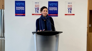 Sandra Masters, Regina mayoral candidate, committed to a new aquatic centre by 2024. (Gareth Dillistone / CTV News Regina)
