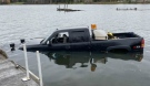 East Algoma Ontario Provincial Police are investigating after this pickup truck was stolen from a hunt camp in St. Joseph Township Oct. 24, then found submerged in Lake Huron Oct. 26. (Supplied)
