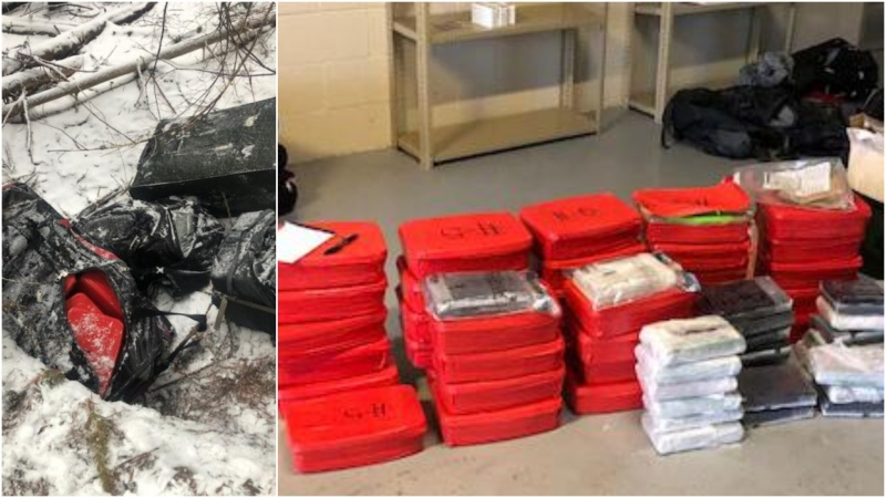 Photos from U.S. Customs and Border Protection show duffel bags and drugs allegedly found near the Canadian border in Idaho.