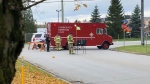 A hazardous materials team is at the scene of a chemical spill at the 3M plant in Brockville, Ont. Oct. 28, 2020 (Nate Vandermeer / CTV News Ottawa)