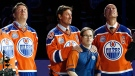 Joey Moss appeared on the ice in the pre-game ceremonies with Wayne Gretzky as well as Jari Kurri and Mark Messier ahead of the Oilers final game at the building once known as Northlands Coliseum (Edmonton Oilers)